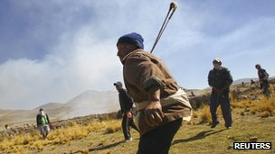 Protests at the Tinaya copper mine owned by Swiss-based Xstrata plc in Espinar, Peru, on Monday
