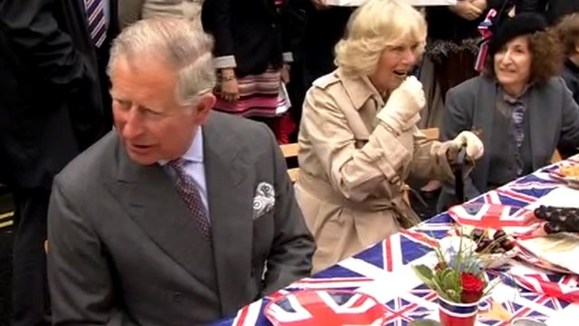 The Duke and Duchess of Cornwall at a street party in Piccadilly, central London