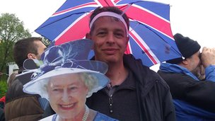 Steven Birch with cardboard cut-out of the Queen