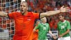 Ron Vlaar celebrates after his near-post header completes the 6-0 rout