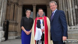 Secretary of State Owen Paterson and his wife Rose with the Very Reverend John Mann
