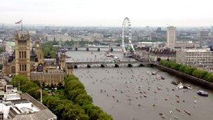 Boats pass the London Eye