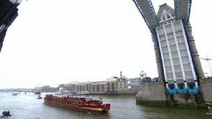 The Spirit of Chartwell passes through Tower Bridge.
