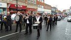 Marching band going through East Grinstead