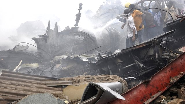 Wreckage of the Dana Air plane