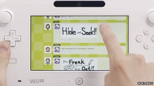 Wii U Game Pad connected to the Miiverse