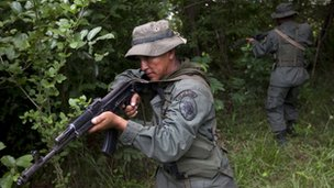 Venezuelan soldier near the Colombian border
