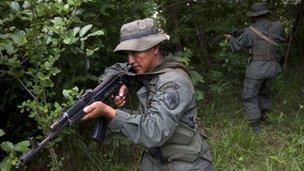Venezuelan soldier near the Colombian border