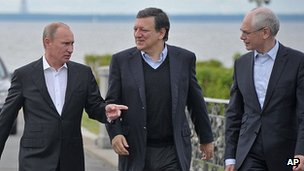 President Putin greets Jose Manuel Barroso and Herman Van Rompuy in St Petersburg