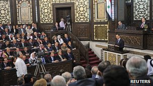 President Bashar al-Assad addresses parliament in Damascus