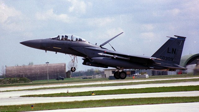 A Boeing F-15E Strike Eagle landing at Aviano Air Base, Italy