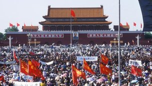 Students protesting in Tiananmen Square, May 1989