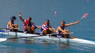 James Cracknell, Steve Redgrave, Tim Foster and Matthew Pinsent celebrate gold in 2000