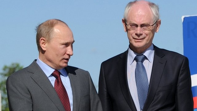 Russia's President Putin with European Council President Herman Van Rompuy
