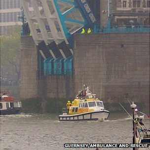 Guernsey marine ambulance Flying Christine III passing Tower Bridge as part of the Diamond Jubilee Pageant