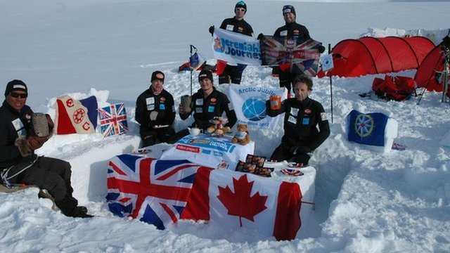 A Jubilee tea party takes place on the summit of Mount Barbeau, in the Canadian Arctic