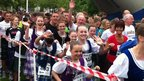 Runners taking part in Kilt Run in Perth