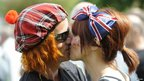 Kiss during Jubilee celebrations in Perth