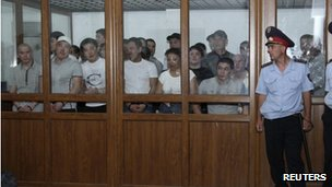 Defendants in court during the riot case, 4 June 2012