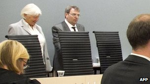 Lay judge Ernst Henning Eielsen (R) in court during the trial of Anders Behring Breivik in Oslo