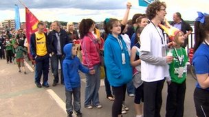 The crowds gather in Derry to greet the Olympic flame