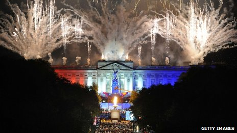 A fireworks display outside Buckingham Palace
