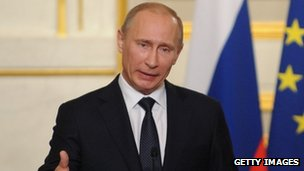 Russian President Vladimir Putin speaks at a news conference in Paris, France 1 June 2012
