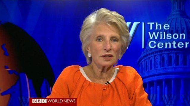 Congresswoman Jane Harman is interviewed by the BBC&#039;s Katty Kay on World News America in Washington, DC 4 June 2012