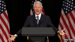 Former US President Bill Clinton talks at Barack Obama's fundraising event in New York. Photo: 4 June 2012