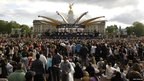 A view of the stage prior to the Queen's Jubilee Concert in front of Buckingham Palace, London