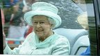 Queen Elizabeth II with Diana Marion, The Lady Farnham, are driven down the Mall on her way to Saint Paul&#039;s Cathedral 