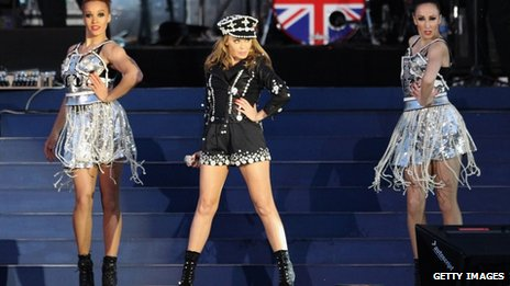 Kylie Minogue performing at the Jubilee concert at Buckingham Palace