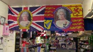 Flags in Royal memorabilia shop