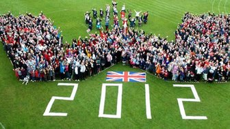 Woldingham residents standing in the shape of a 'W' Photo: Chris Mikami
