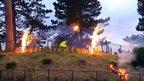 The lit beacon at Antrim Castle