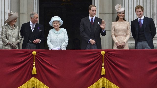 Queen and other royal family members on Buckingham Palace balcony