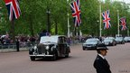 Prince Andrew, Duke of York, is driven down the Mall on his way to Saint Paul's Cathedral