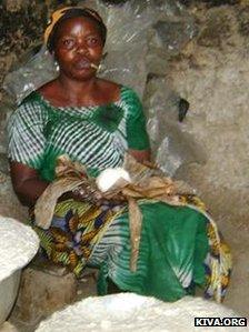 A kenkey maker in Ghana