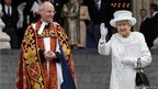 Queen Elizabeth waves as she exits St Paul's Cathedral with Dean of Saint Paul's David Ison