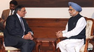In this handout photograph released by the Press Information Bureau, US Secretary of Defense Leon Panetta (L) attends a meeting with Indian Prime Minister Manmohan Singh at