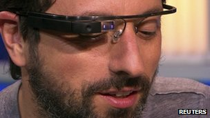 Sergey Brin wearing Google glasses prototype