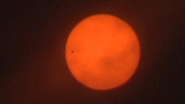 Venus makes its way across the Sun