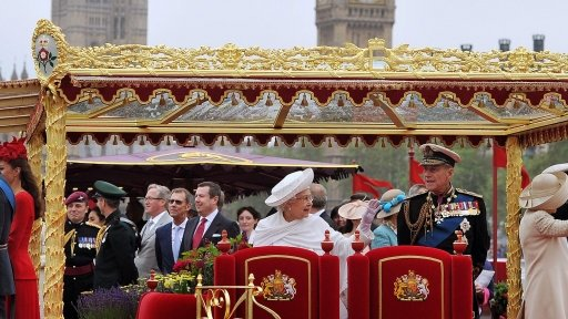 The Queen and Royal family on Royal barge The Spirit of Chartwell