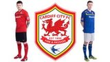 Aaron Gunnarson in home kit, new Cardiff City crest and Joe Mason in away kit
