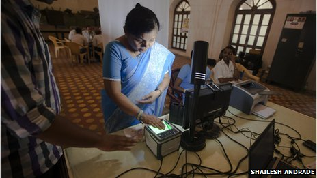 A woman getting enrolled in a UID booth in Surat