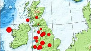 British Geological Survey map showing location of earthquake off the coast of County Mayo