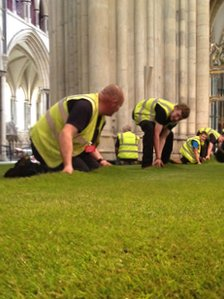 Grass being laid at York Minster