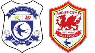The old and new club logos, with the bluebird and dragon changing prominence