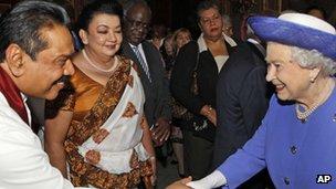 Sri Lankan president Mahinda Rajapaksa and the Queen