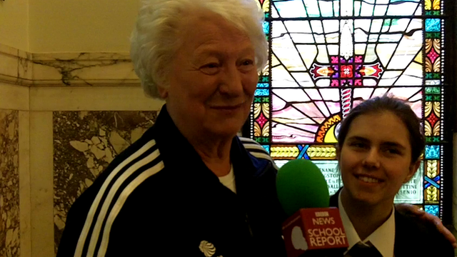 Mary Peters with a School Reporter